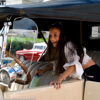 In a Vintage Automobile